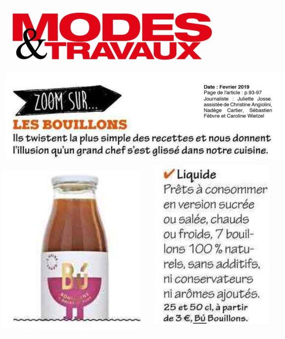 MODES & TRAVAUX bu bouillon bio vegetarien naturel